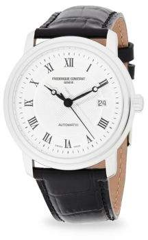 Frederique Constant Stainless Steel Analog Leather Strap Watch