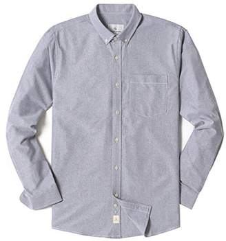 Chain Stitch Men's Long Sleeve Flap Pocket Casual Chambray Cotton Shirt Navy