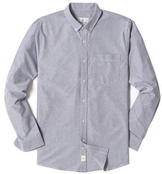 Chain Stitch Men's Long Sleeve Cotton Oxford Button-Down Collar Casual Shirt