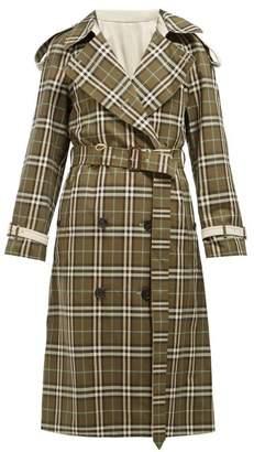 Burberry Eastleigh Reversible Tartan Cotton Trench Coat - Womens - Grey