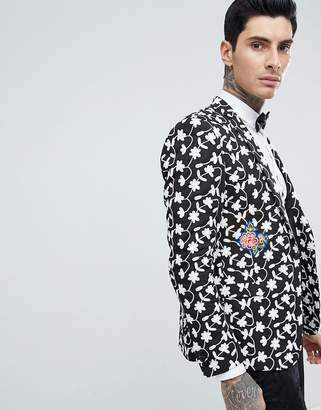 Asos DESIGN Skinny Blazer With Allover Embroidery And Patches