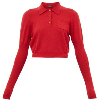 Dolce & Gabbana Cropped Cashmere Polo Shirt - Womens - Red