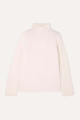 Vince Ribbed Wool Turtleneck Sweater - Cream