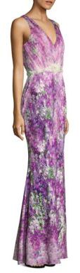 Badgley Mischka Printed Tulle Gown $990 thestylecure.com