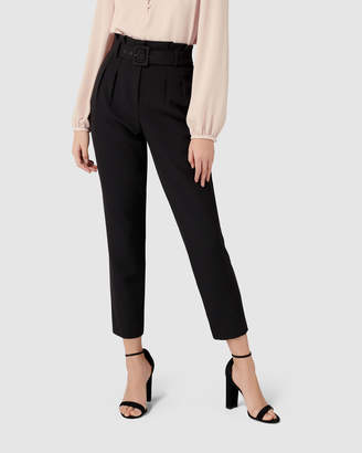 Tori Petite Highwaist Paperbag Slim Pants