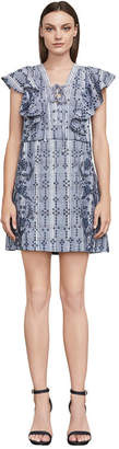 BCBGMAXAZRIA Caralyne Embroidered Plaid Dress