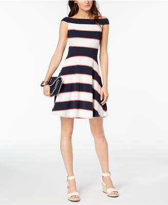 Tommy Hilfiger Off-The-Shoulder Fit & Flare Dress