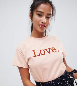 Miss Selfridge Petite love tee in pink