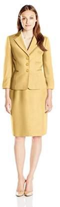 Le Suit Women's Jacquard 3 Button Skirt Suit