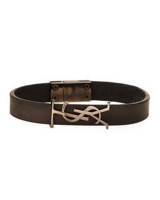 Saint Laurent Leather Monogram Bracelet, Black, Size Small