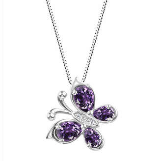 FINE JEWELRY Genuine Amethyst Sterling Silver Butterly Pendant Necklace
