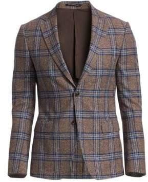 Ermenegildo Zegna Men's Plaid Wool& Silk Blazer - Dark Brown Check - Size 50 (40) S