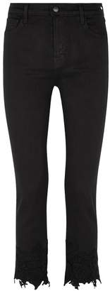 J Brand Ruby Cropped Lace-trimmed Jeans
