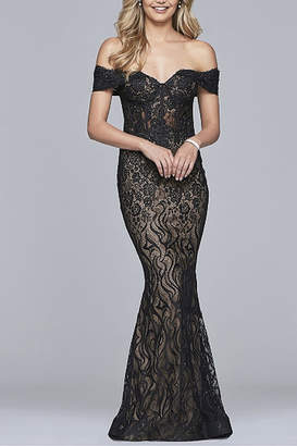 Faviana Long lace off-the-shoulder dress
