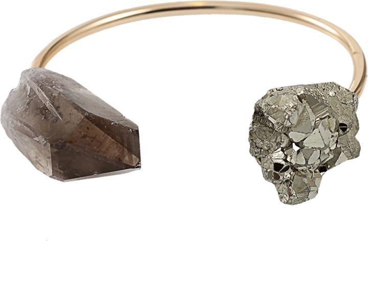 SERAPHINE DESIGNS Raw Pyrite Smoky Quartz Bracelet