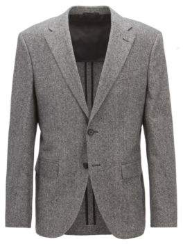 BOSS Hugo Regular-fit blazer in a virgin-wool-blend tweed 42R Grey