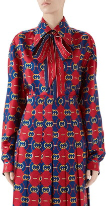Gucci GG Waves Print Silk Twill Bow Blouse