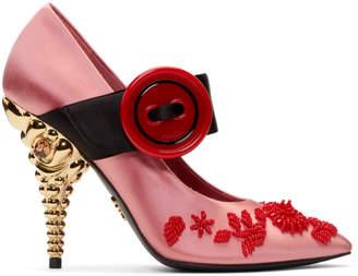 Prada Pink Beaded Button Silk Heels