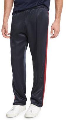 Burberry Straight-Leg Jersey Track Pants, Navy $450 thestylecure.com