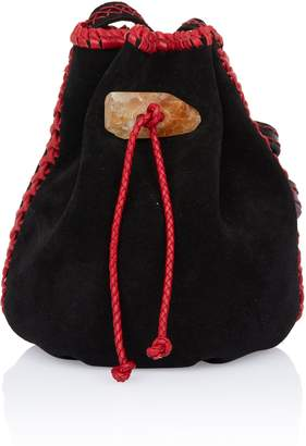 Iacobella Nirmala Black Suede Bucket Bag