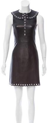 Michael Kors Grommet Embellished Leather Dress