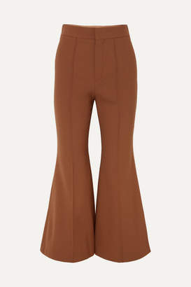Chloé Cropped Stretch-wool Flared Pants - Brown