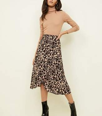 New Look Brown Leopard Print Midi Wrap Skirt