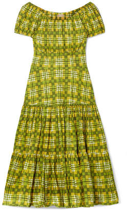 Michael Kors Off-the-shoulder Checked Tiered Cotton-poplin Midi Dress - Lime green