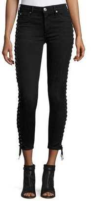 True Religion Halle Lace-Up Cropped Skinny Jeans, Pepper Clean $269 thestylecure.com