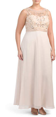 Plus Beaded Bodice & Chiffon Skirt Gown