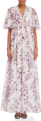 Giambattista Valli Floral Cape Overlay Dress