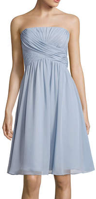 BLUE SAGE Blu Sage Strapless Ruched A-Line Dress