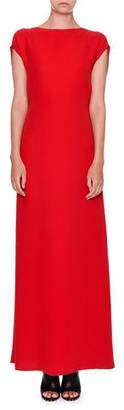 Valentino Sleeveless Cady Cowl-Back Gown, Red