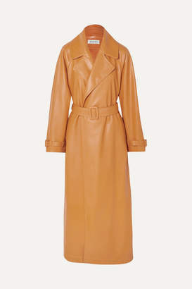 OCHI - Belted Faux Leather Trench Coat - Yellow