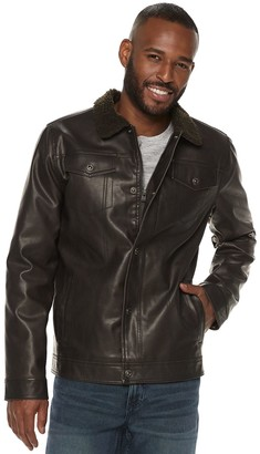 X-Ray Xray Men's XRAY Slim-Fit Faux-Leather Trucker Jacket