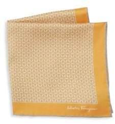 Salvatore Ferragamo Men's Silk Interlocking Gancini Print Pocket Square - Yellow