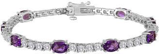JCPenney FINE JEWELRY Womens Lab Created Purple Amethyst & Cubic Zirconia Silver Over Brass Tennis Bracelet