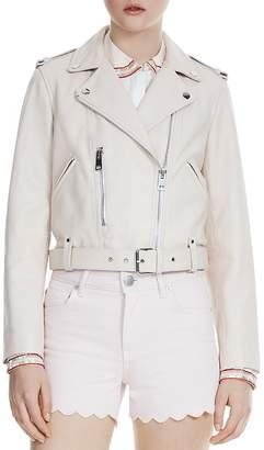 Maje Betsy Cropped Leather Moto Jacket