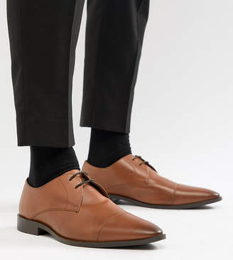 Frank Wright Wide Fit Toe Cap Derby Shoes In Tan Leather