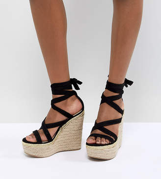bc2254c6dd Asos Design DESIGN Trophy Tie Leg High Wedges