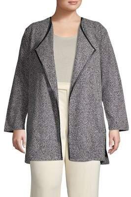 Rafaella Plus Open-Front Tweed Boucle Cardigan