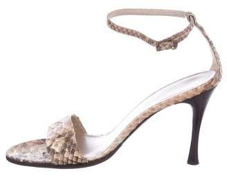 Giorgio Armani Python Ankle Strap Sandals