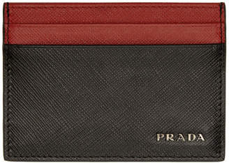 Prada Black and Red Bicolor Saffiano Card Holder
