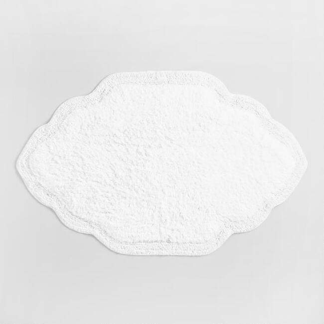 White Mughal Tile Tufted Bath Mat
