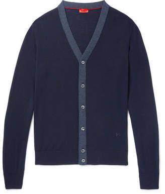 Isaia Herringbone-Trimmed Wool Cardigan