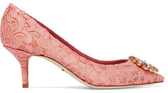 Dolce & Gabbana Crystal-embellished Lace Pumps - Bright pink