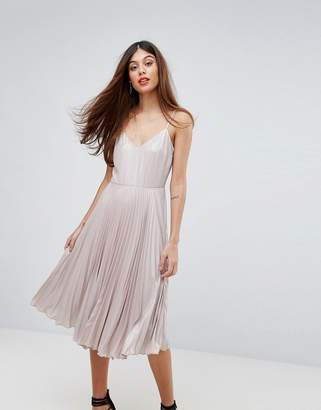 Warehouse Lame Pleated Cami Dress
