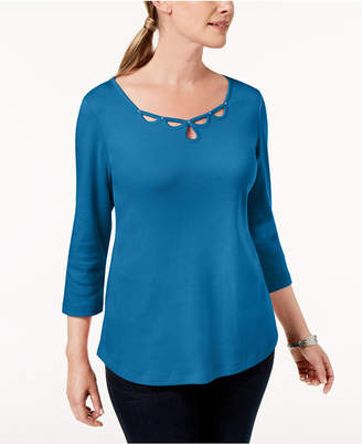 Karen Scott Petite Cotton Embellished Cutout Top