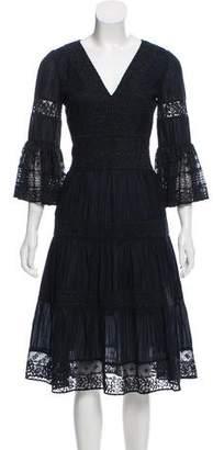 Temperley London Pleated Lace Trim Dress