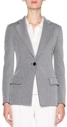 Giorgio Armani Pinstripe One-Button Jacket, Navy $2,400 thestylecure.com